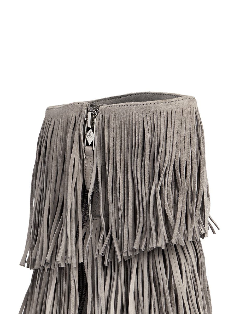 Sam Edelman Belinda Fringed Suede Mid Calf Boots In Gray