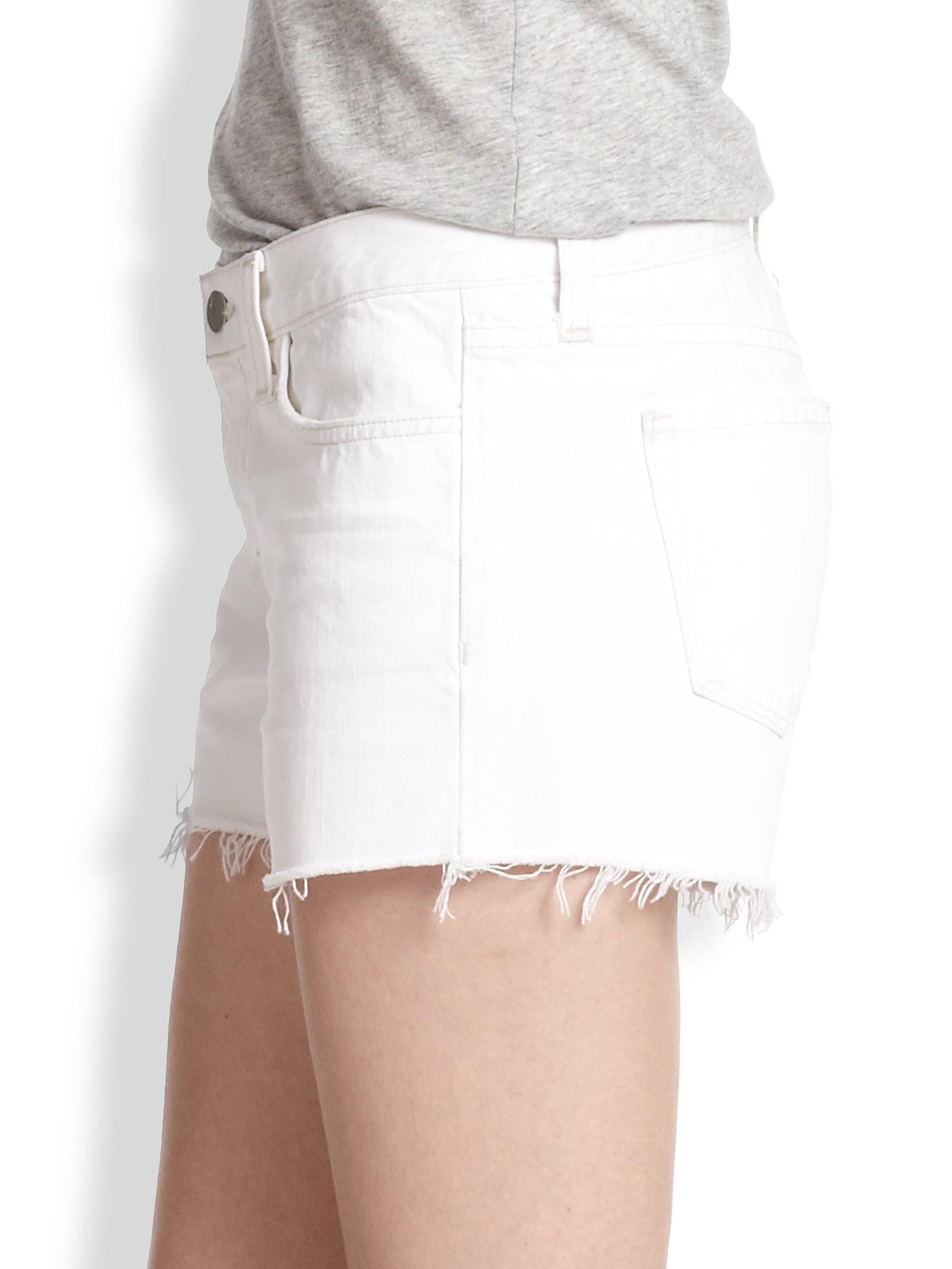 J brand Low-rise Cut-off Denim Shorts in White | Lyst