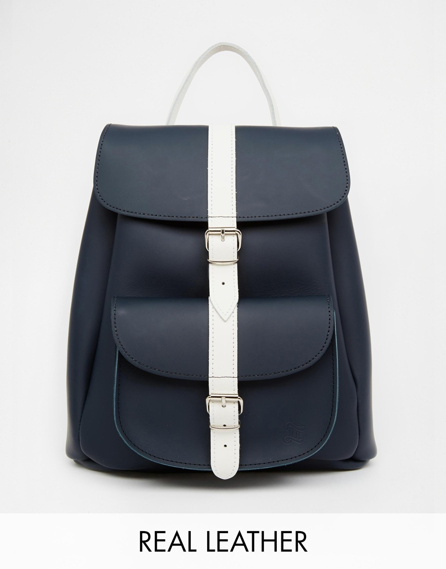 Grafea Leather Backpack In Navy With Contrast Stripe in Black | Lyst