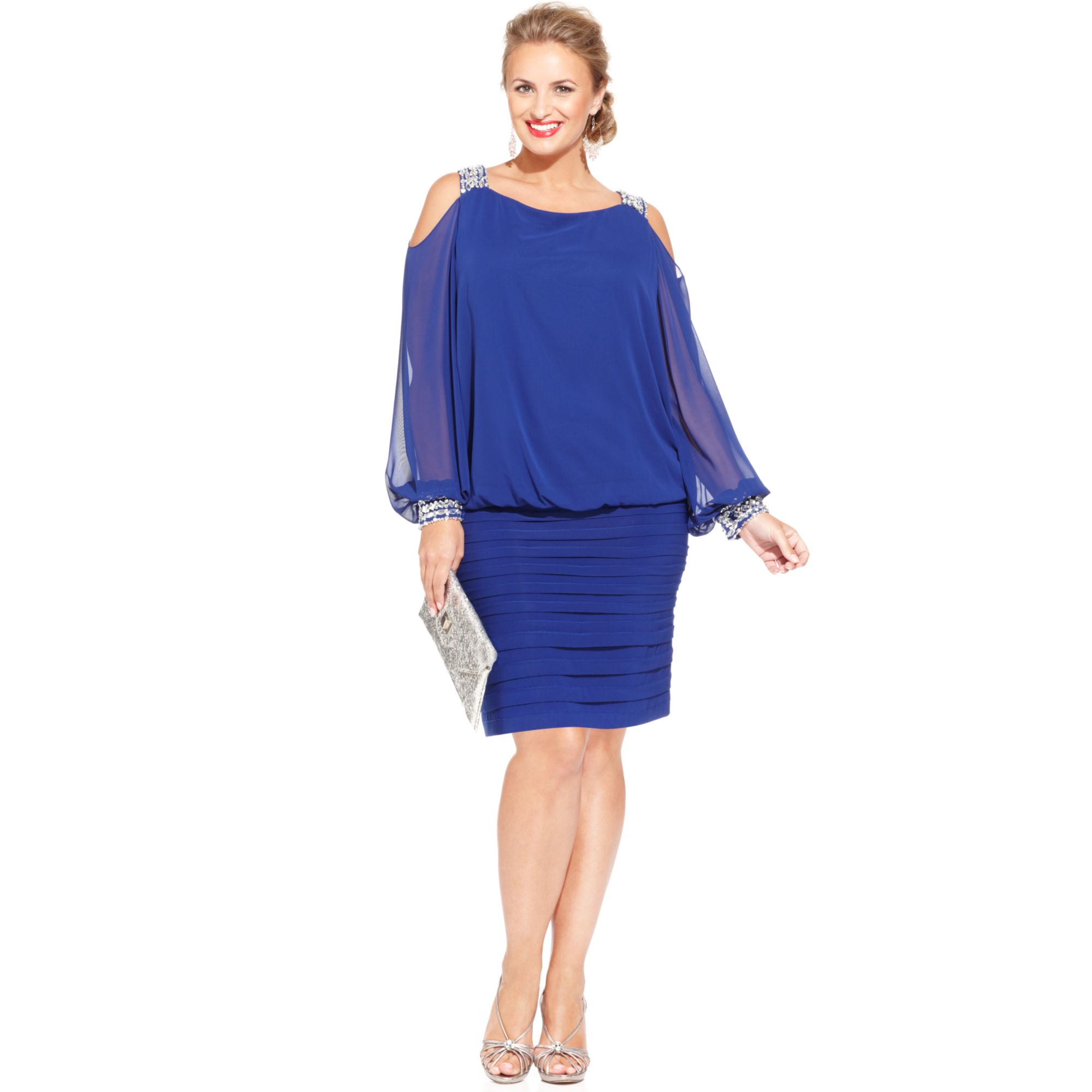 betsy adam plus size cold shoulder embellished blouson dress in blue royal lyst. Black Bedroom Furniture Sets. Home Design Ideas