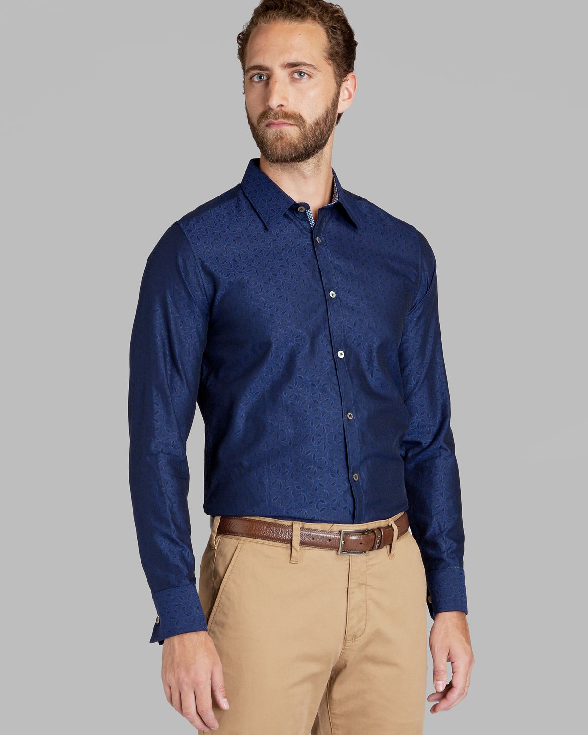 Lyst ted baker teejay jacquard print dress shirt regular for Blue dress shirt outfit