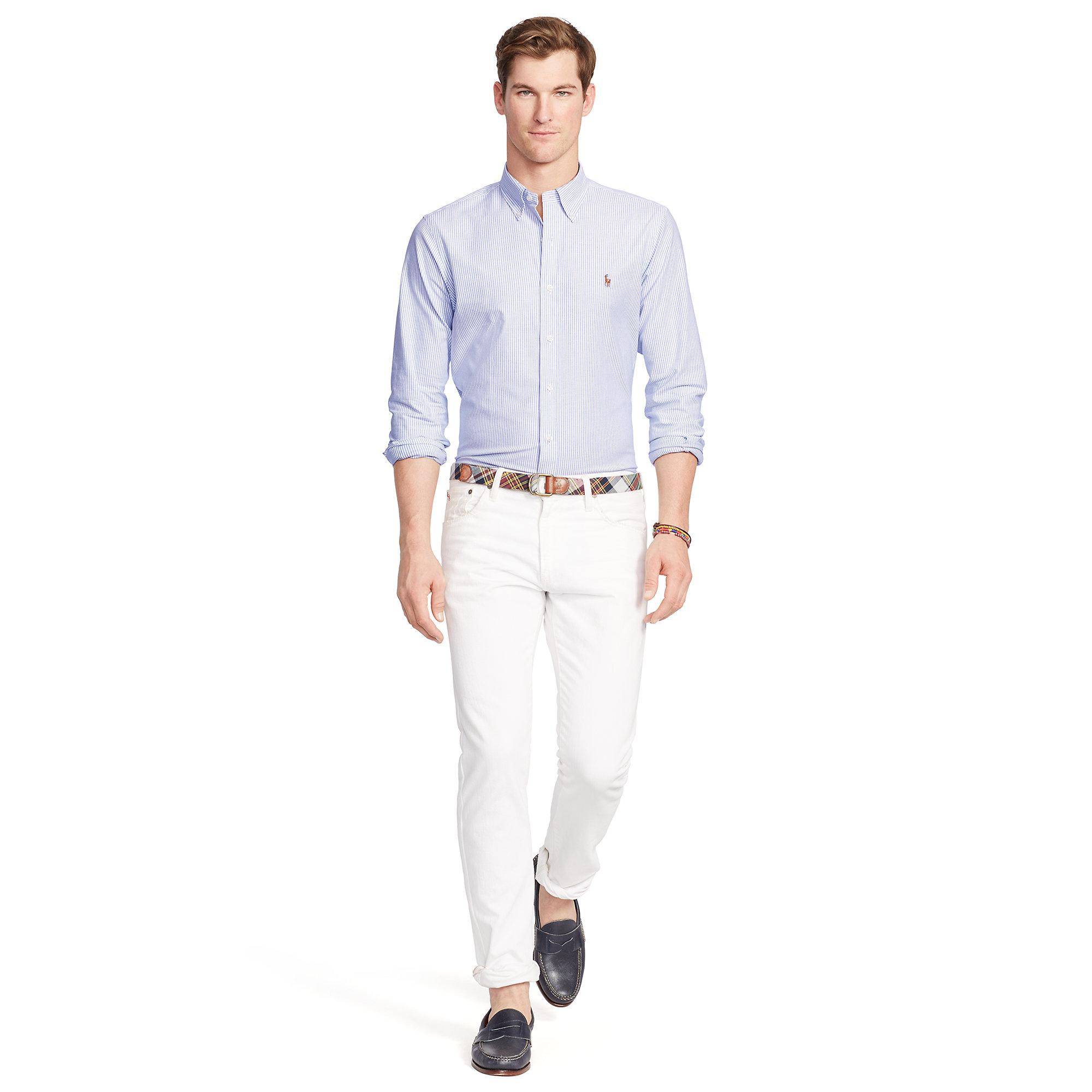 ba1307b5a4b Lyst - Polo Ralph Lauren Slim-fit Stretch Oxford Shirt in Blue for Men
