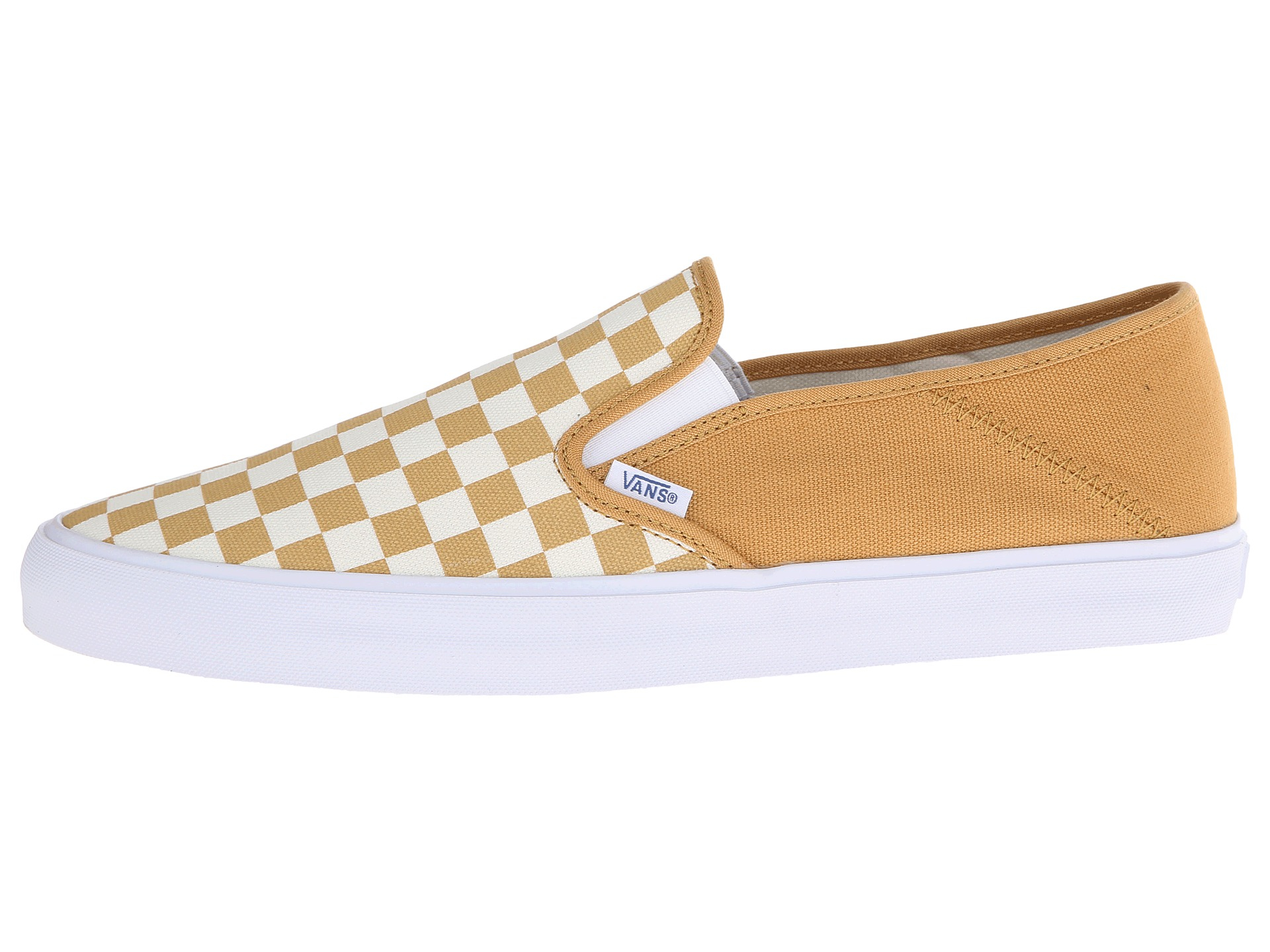 vans checkerboard slip on yellow