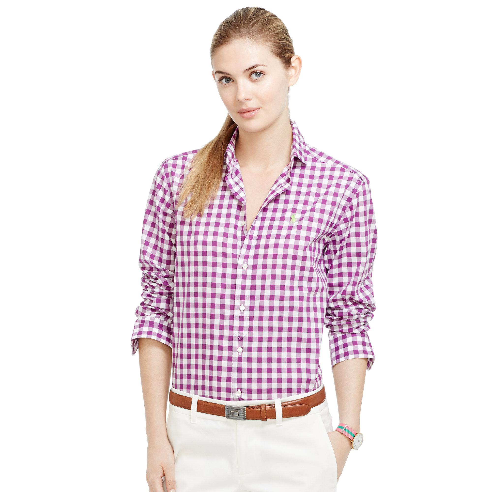 Ralph lauren mesh women short sleeved polo purple for Pink gingham shirt ladies
