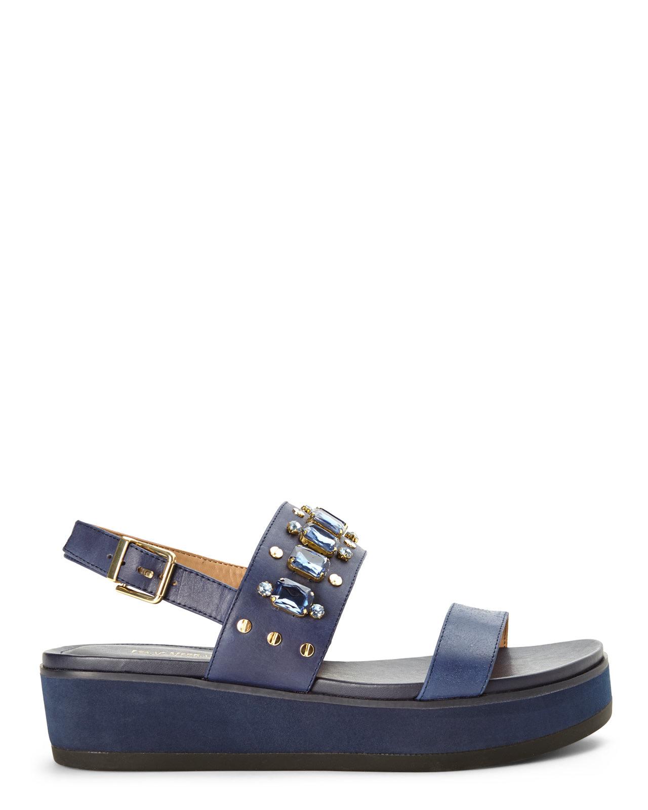 ba8dd9be93a308 Lyst - Isaac Mizrahi New York Navy Bling Slingback Platform Sandals ...