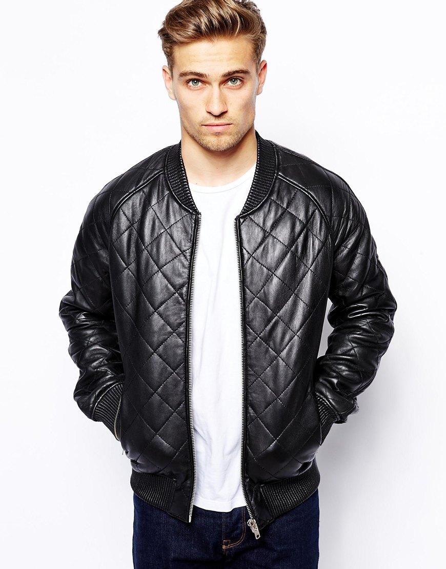 Barneys originals Barneys Quilted Leather Bomber Jacket in Black ...