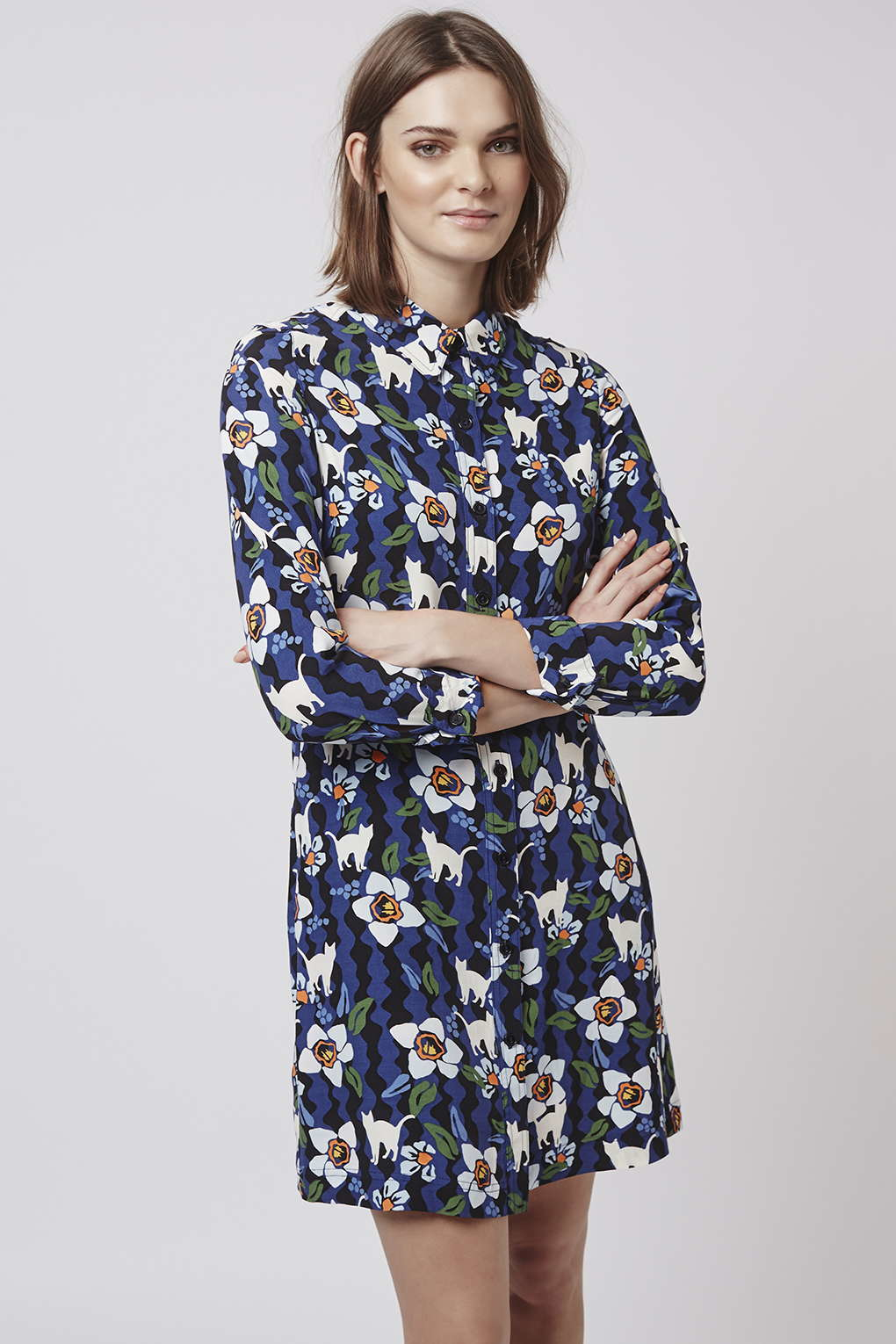 Topshop Kitten Floral Shirtdress In Blue Lyst