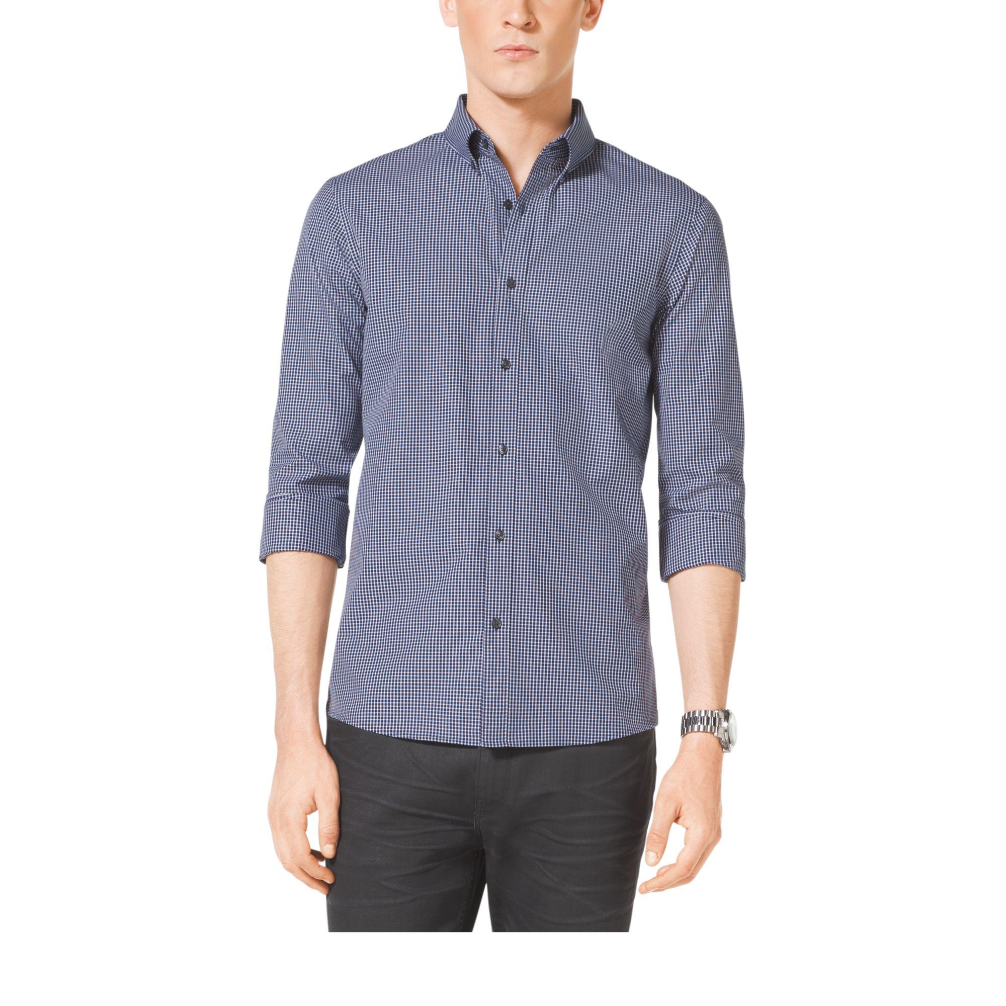 Lyst michael kors slim fit cotton shirt in blue for men for Slim fit cotton shirts