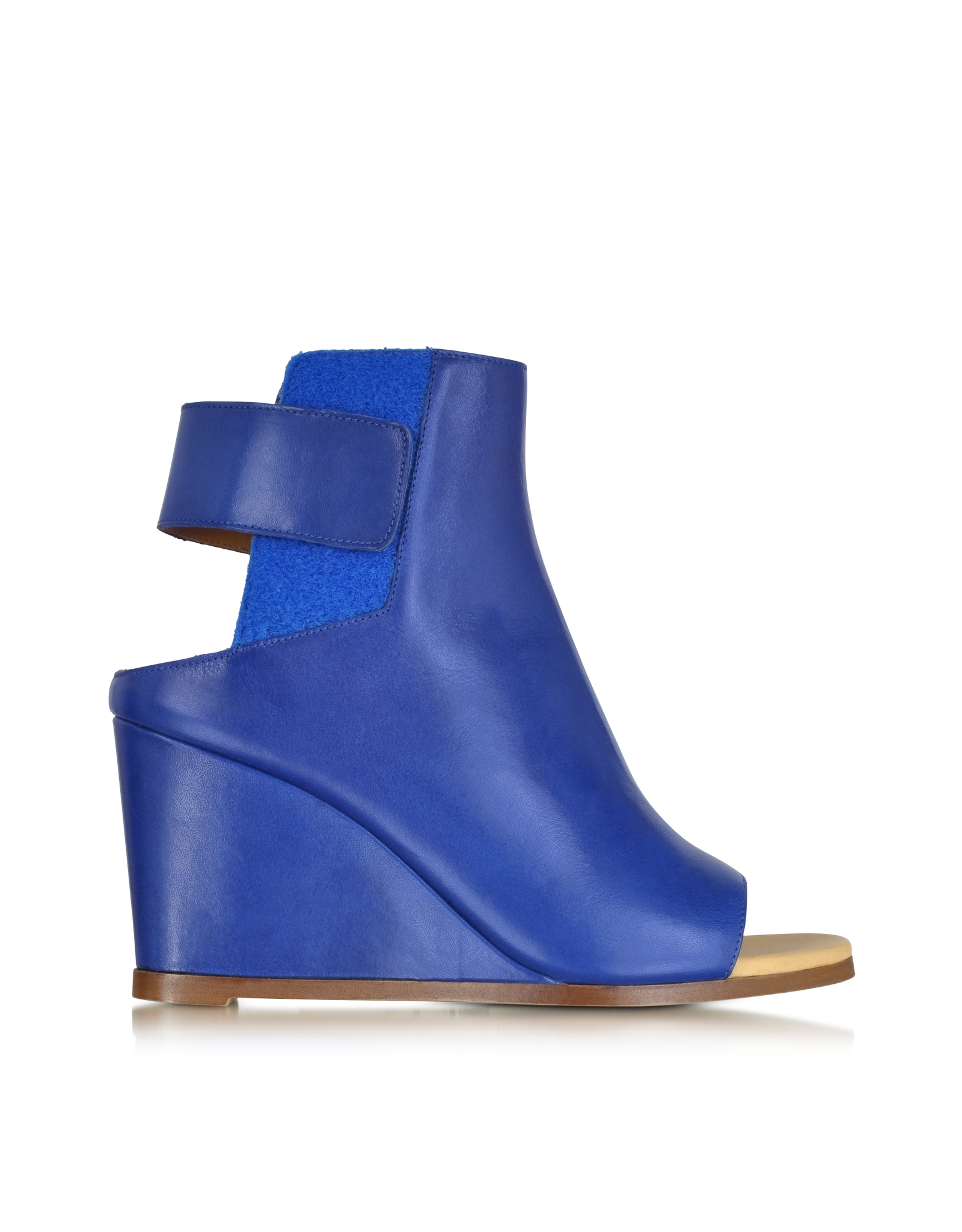 mm6 by maison martin margiela blue leather wedge ankle