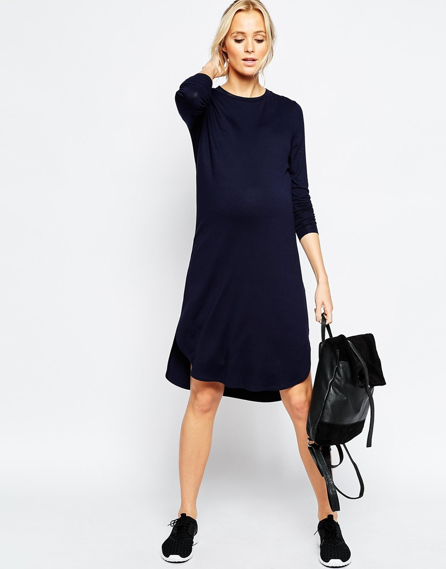 652df50d5eb3 Lyst - ASOS T-shirt Midi Dress With Curved Hem in Blue