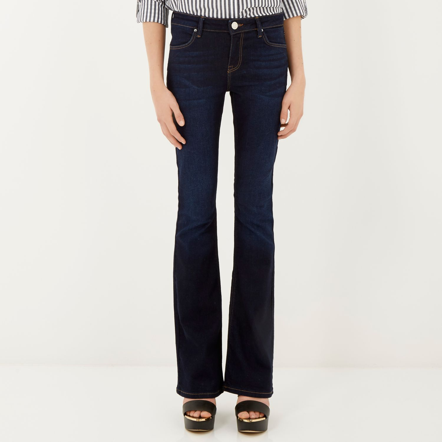 River island Dark Wash Brooke Flare Jeans in Blue | Lyst