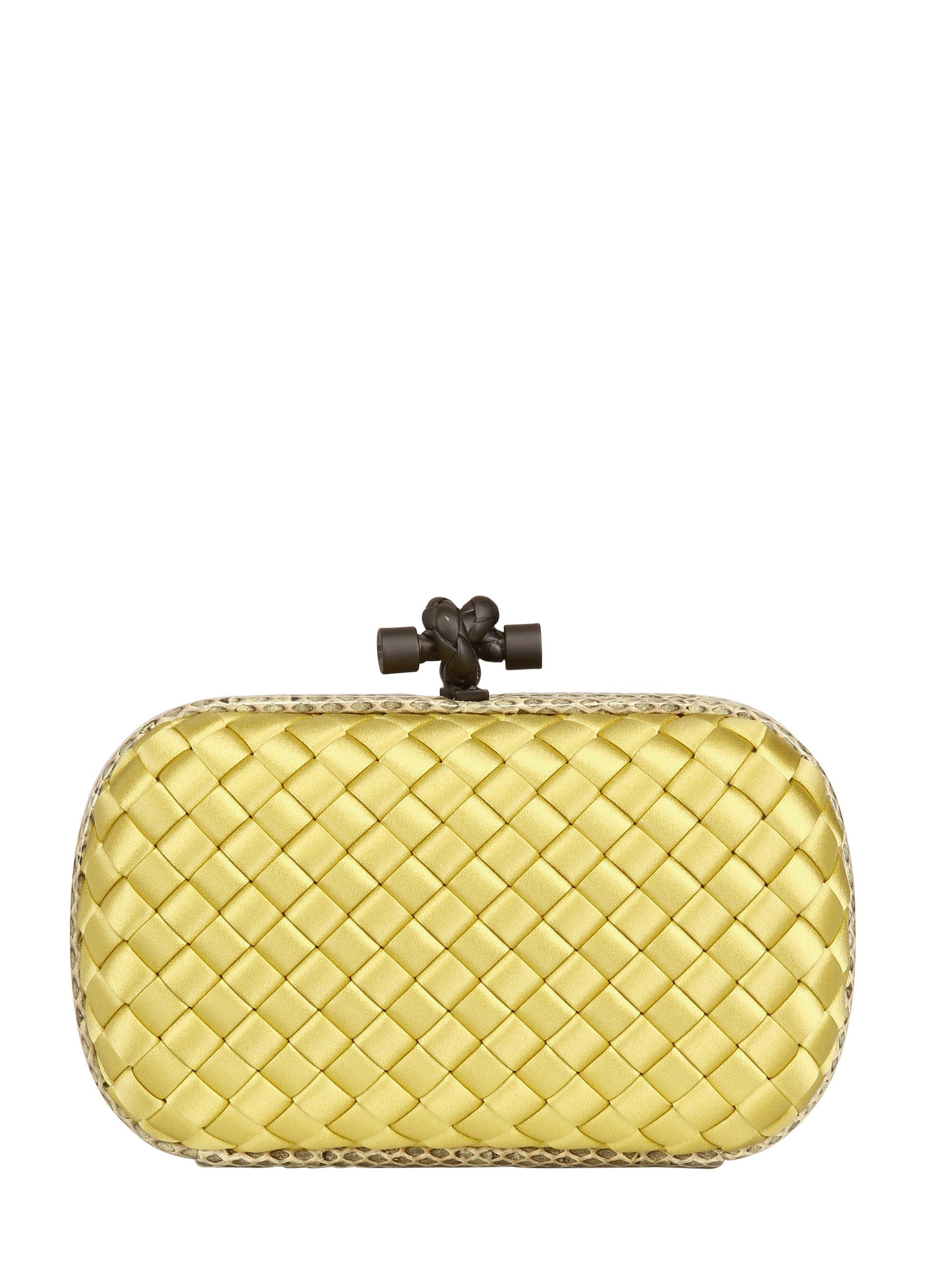 b913d5d6a0f Bottega Veneta Knot Intreccio Satin And Ayers Clutch in Yellow - Lyst