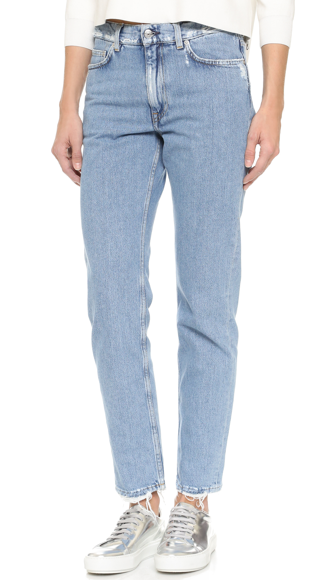 Acne studios Boy Frayed Jeans in Blue | Lyst