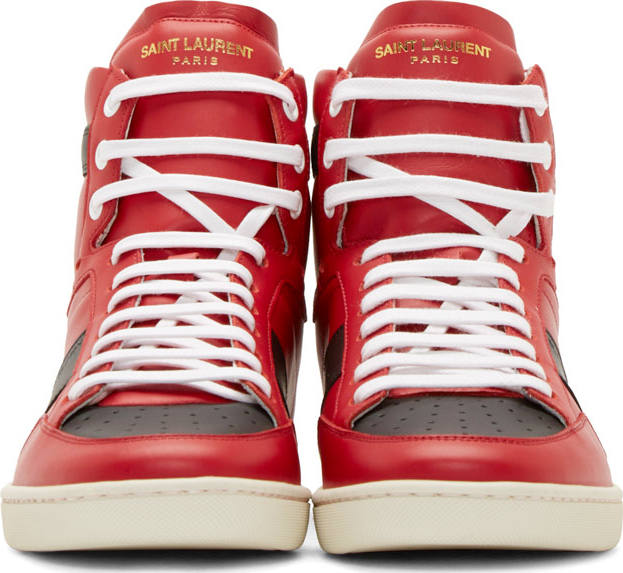 ff417539349 Saint Laurent Red And Black Sl_10 Court Classic High_top Sneakers in ...