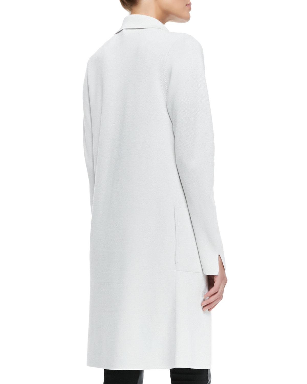 Lyst - Eileen fisher Silk-cotton Interlock Long Drama Jacket in White