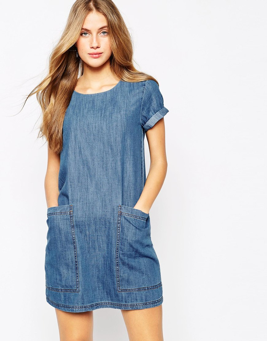 Lyst mango denim t shirt dress in blue for Robe jean mango