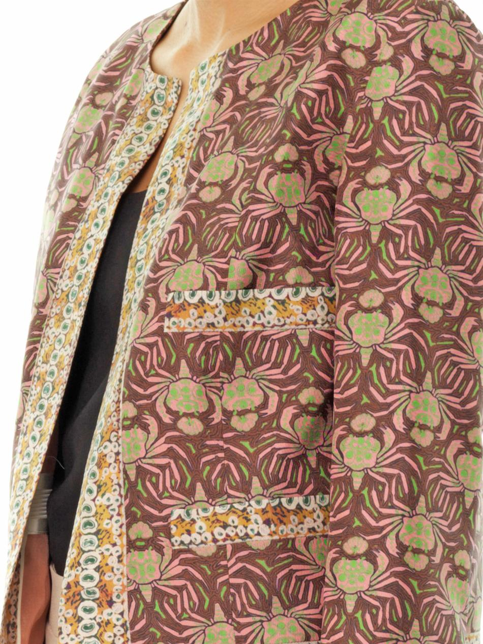 rochas crab print silk jacket in pink lyst