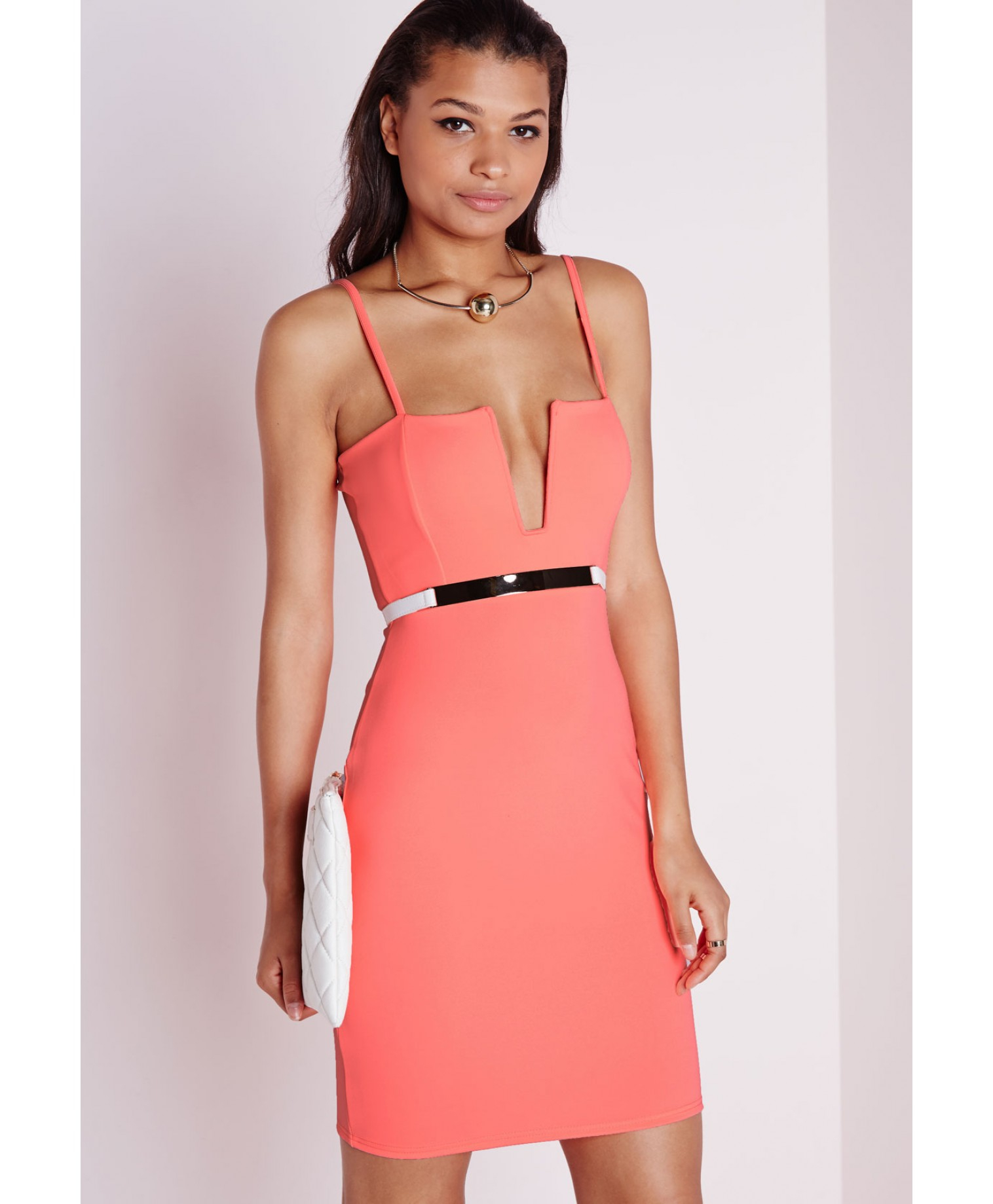 1117bddf49 Lyst - Missguided Strappy Square Neck Bodycon Dress Neon Coral in Pink