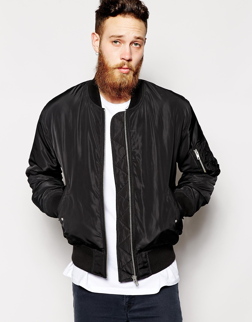 Asos Bomber Jacket in Black for Men | Lyst