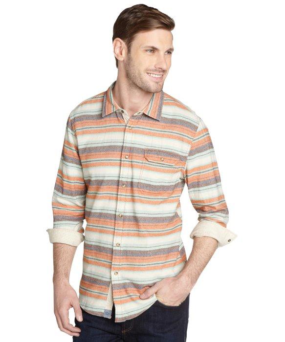 Lyst jachs orange horizontal stripe 39 azzolino 39 cotton for Cotton button up shirt