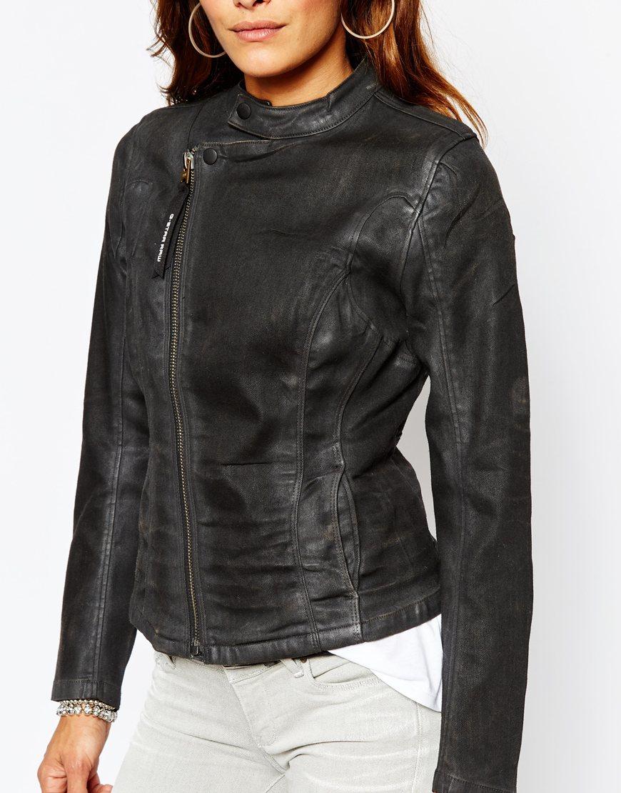 lyst g star raw g star be raw lynn a zip fitted denim jacket in black. Black Bedroom Furniture Sets. Home Design Ideas