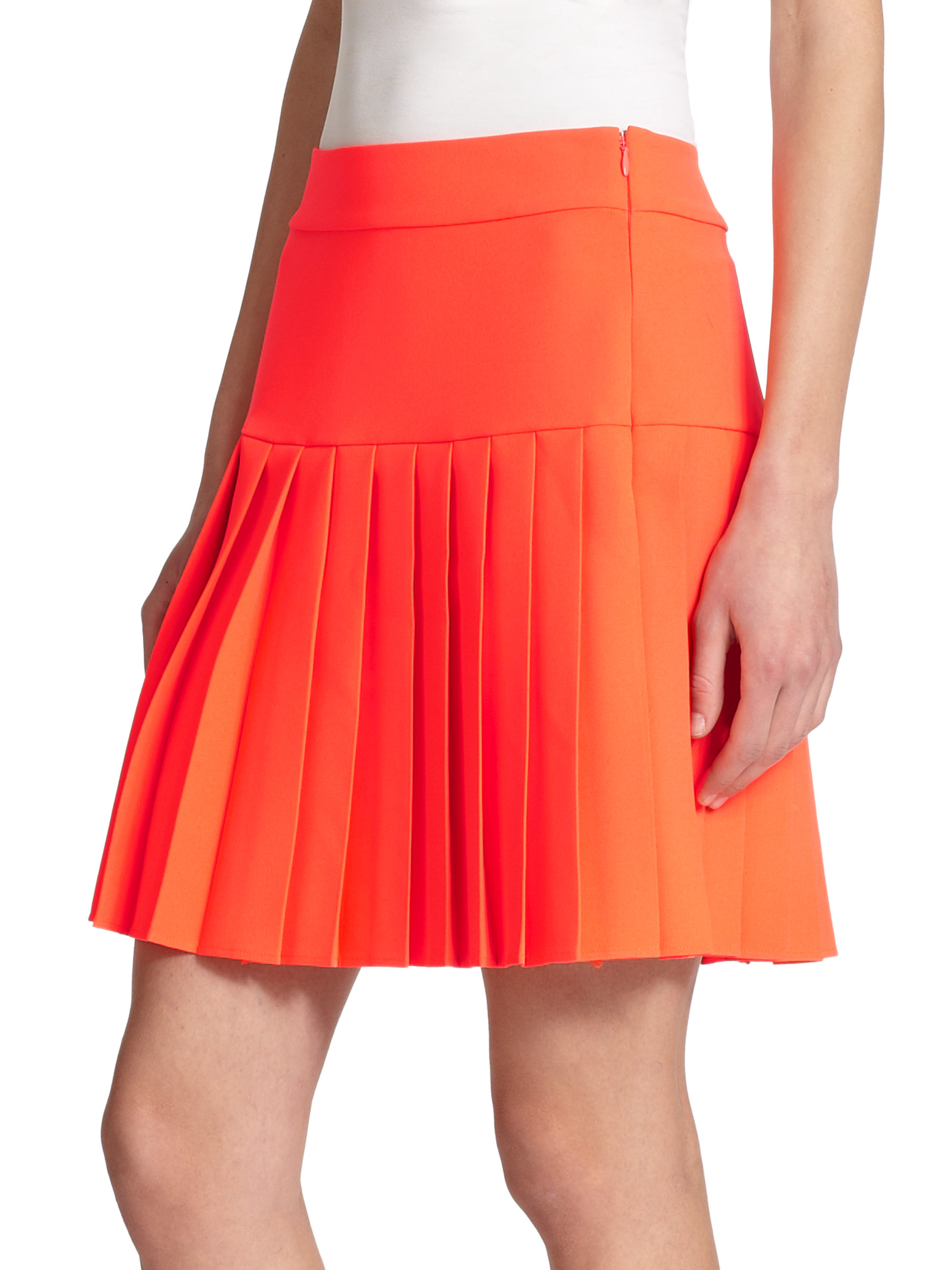 mcq pleated mini skirt in orange lyst