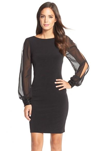 Ivanka trump Chiffon Sheath Dress in Black | Lyst