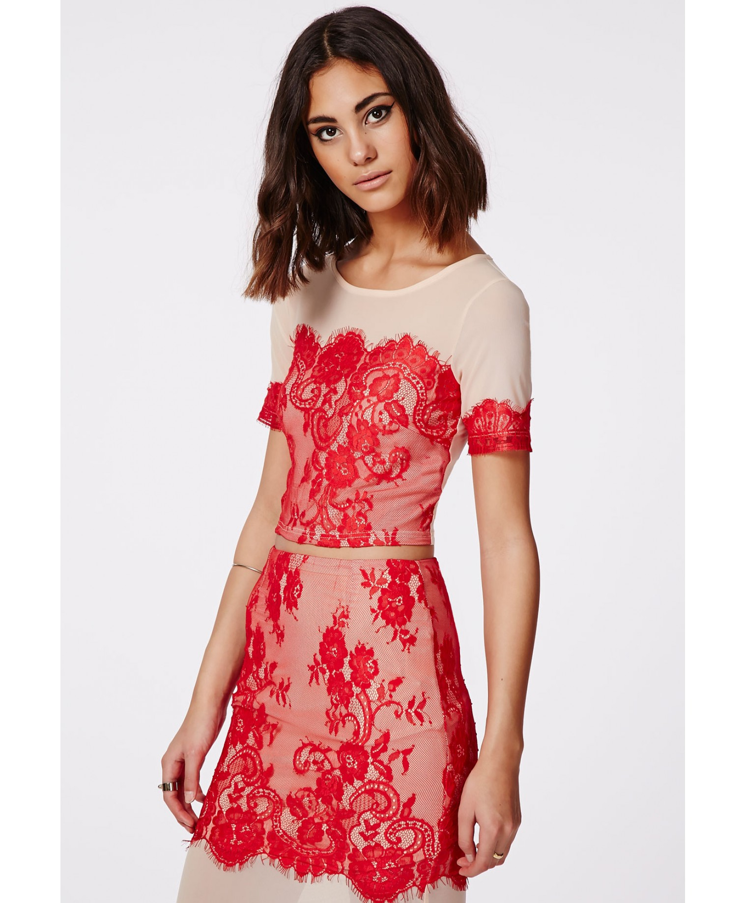 Missguided Seeny Red Lace Crop Top Nude in Red | Lyst