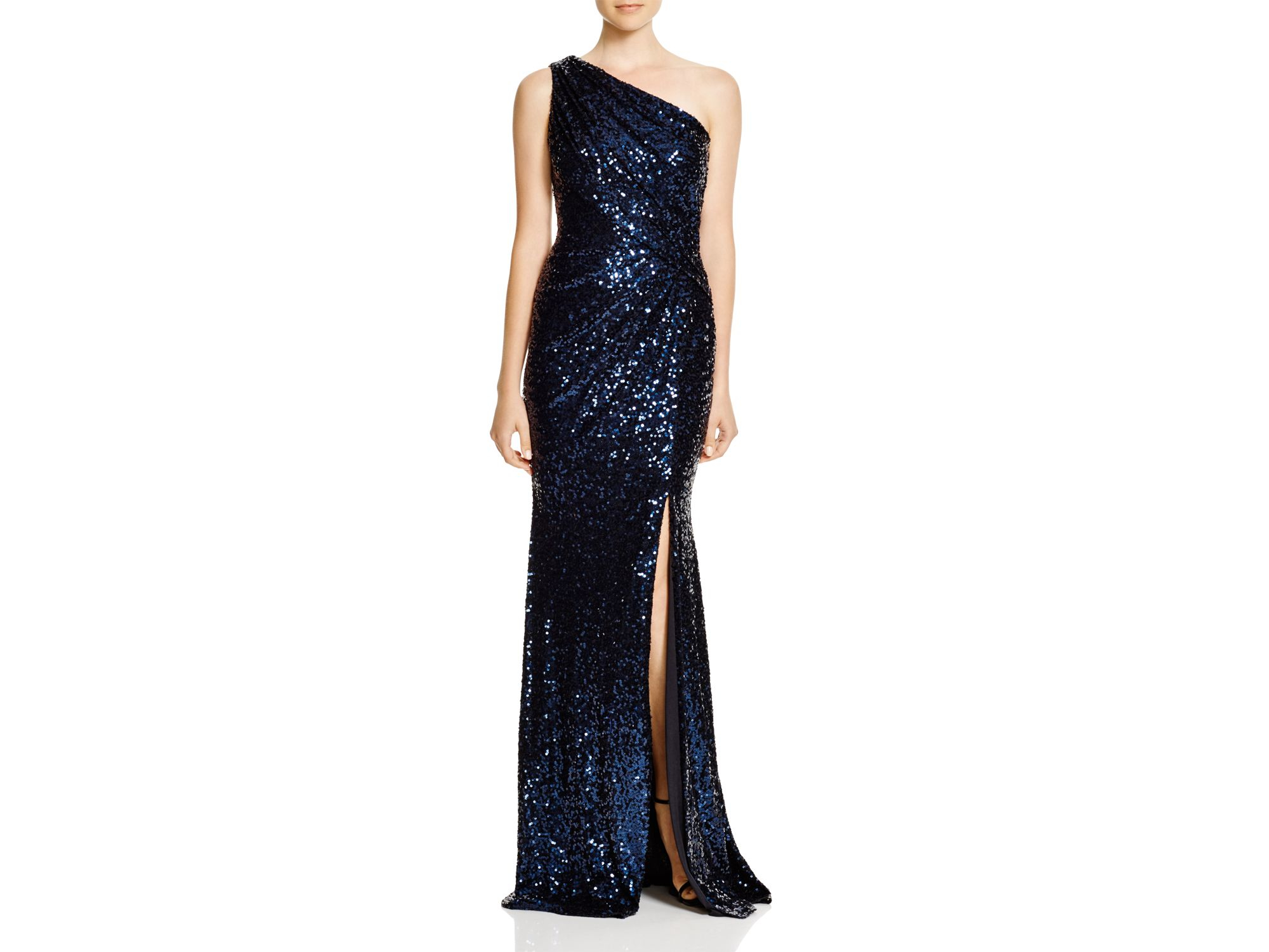 Lyst - Badgley Mischka One Shoulder Sequin Gown in Blue