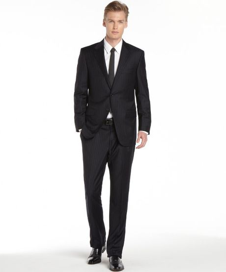 Hickey Freeman Navy And Silver Pinstripe 2button Wool Suit