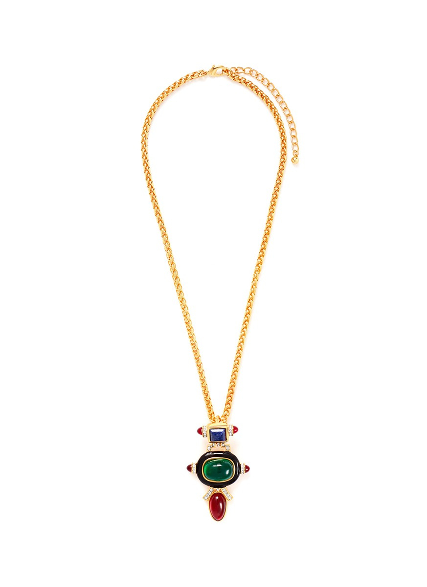 Kenneth Jay Lane Multi Color Deco Pendant Necklace Multi pmejstmPw