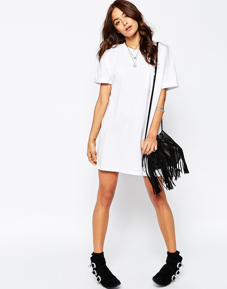 50f7a3f8fe93 ASOS Casual Oversize T-shirt Dress With Pocket in White - Lyst