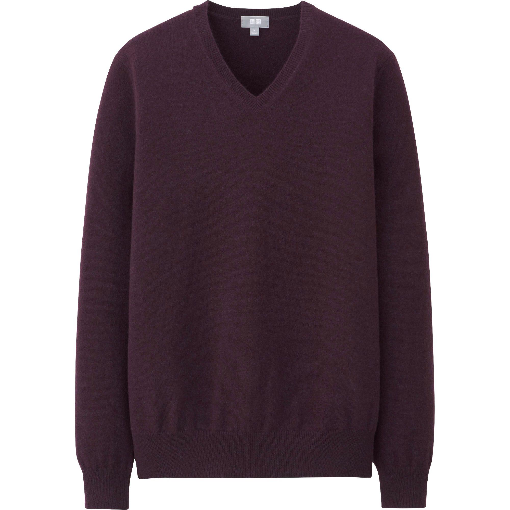 Uniqlo Men Cashmere V Neck Sweater in Purple for Men (WINE . 67d944377064