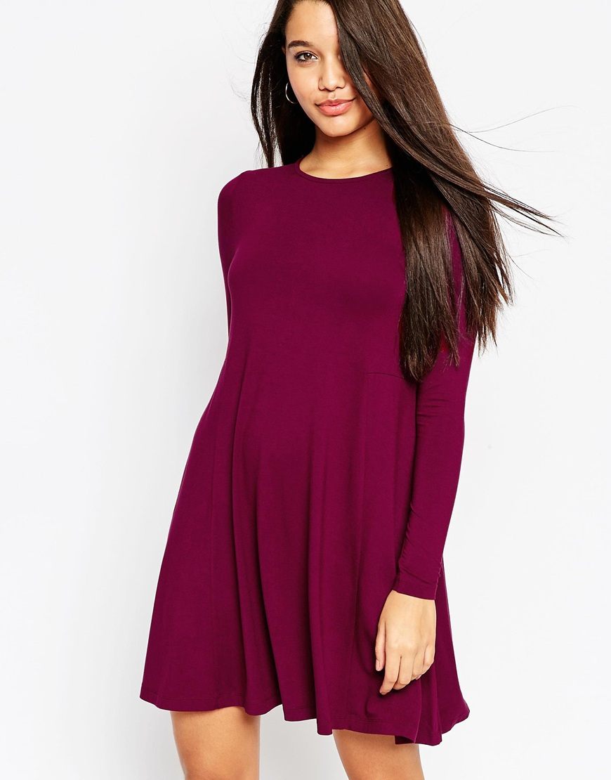 e553ca07a6f3 Lyst - ASOS Swing Dress With Long Sleeves And Seam Detail in Purple