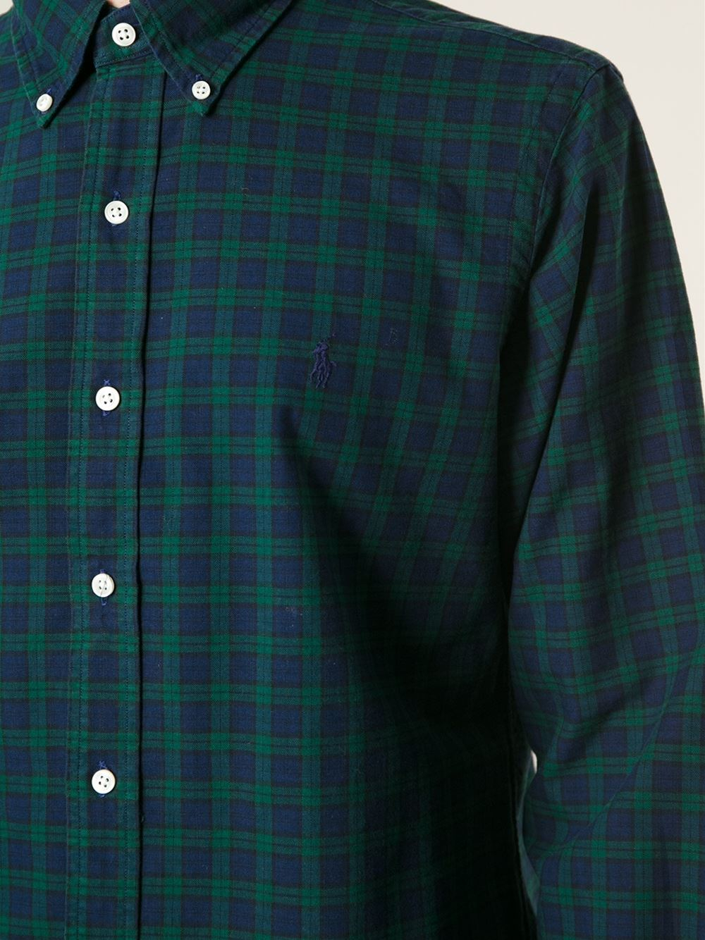 Polo ralph lauren Checked Button Down Shirt in Green for Men | Lyst