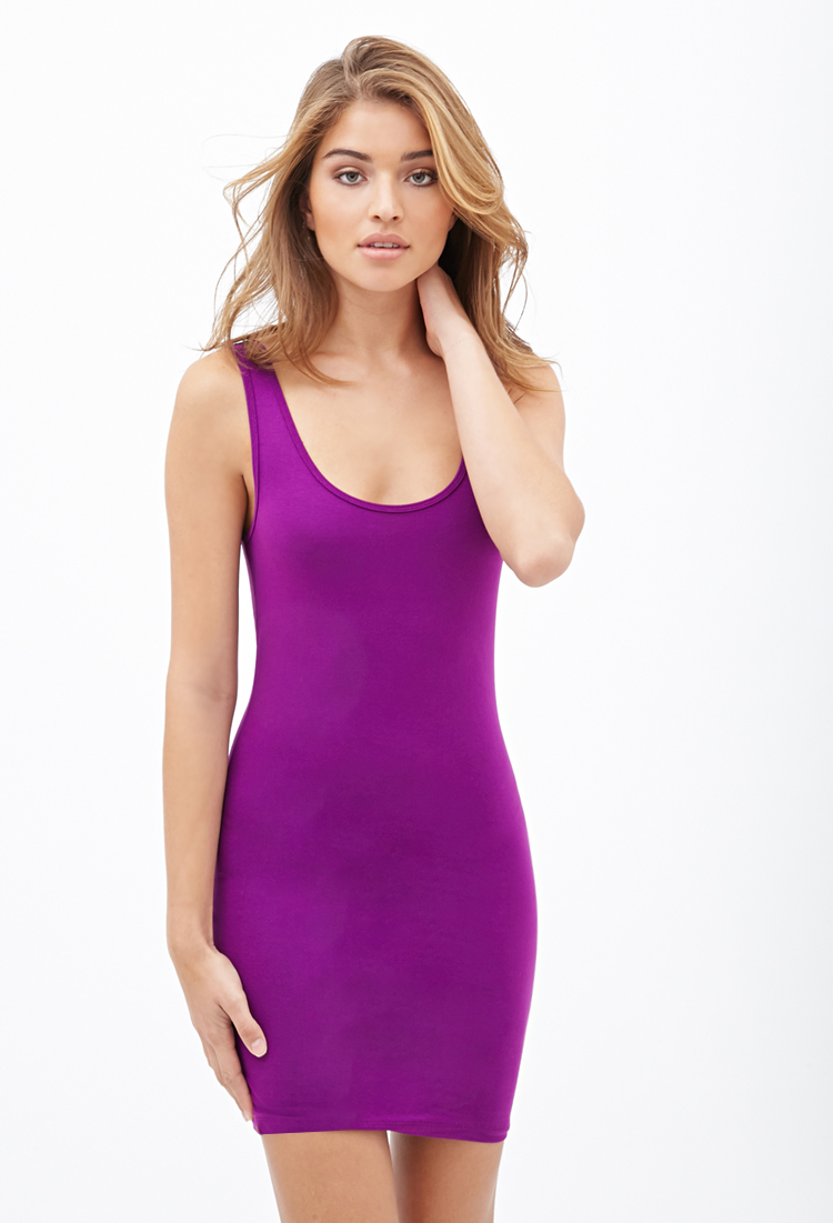 c99b220350 Forever 21 Sleeveless Bodycon Dress in Purple - Lyst
