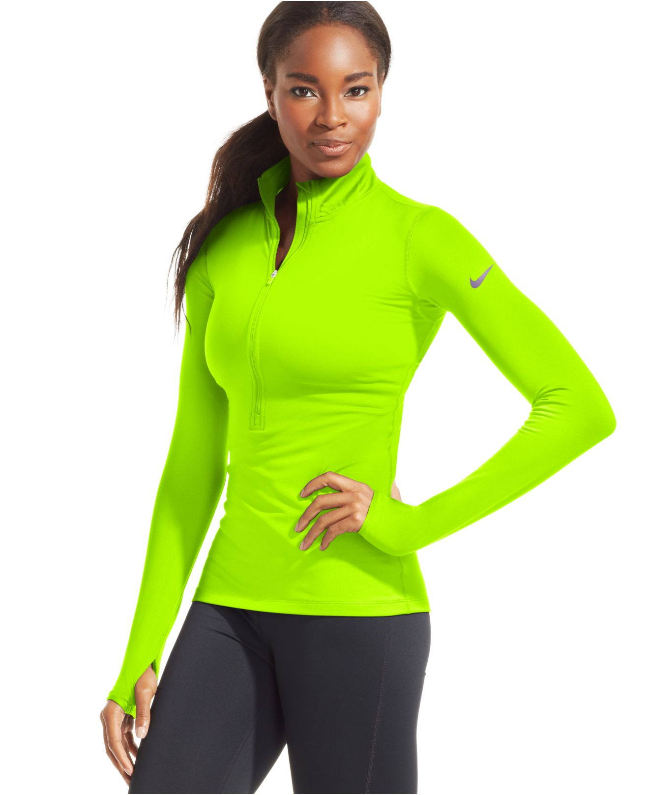 cheap for discount 20303 cba87 Lyst - Nike Pro Hyperwarm Half-Zip Dri-Fit Pullover in Green