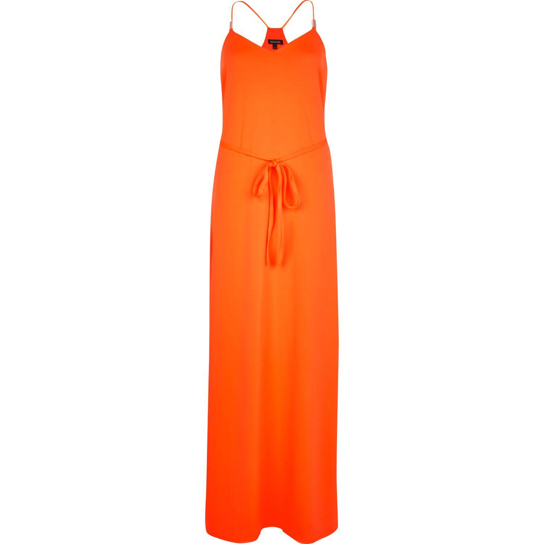 River Island Orange Racer Back Cami Maxi Dress In Orange Lyst