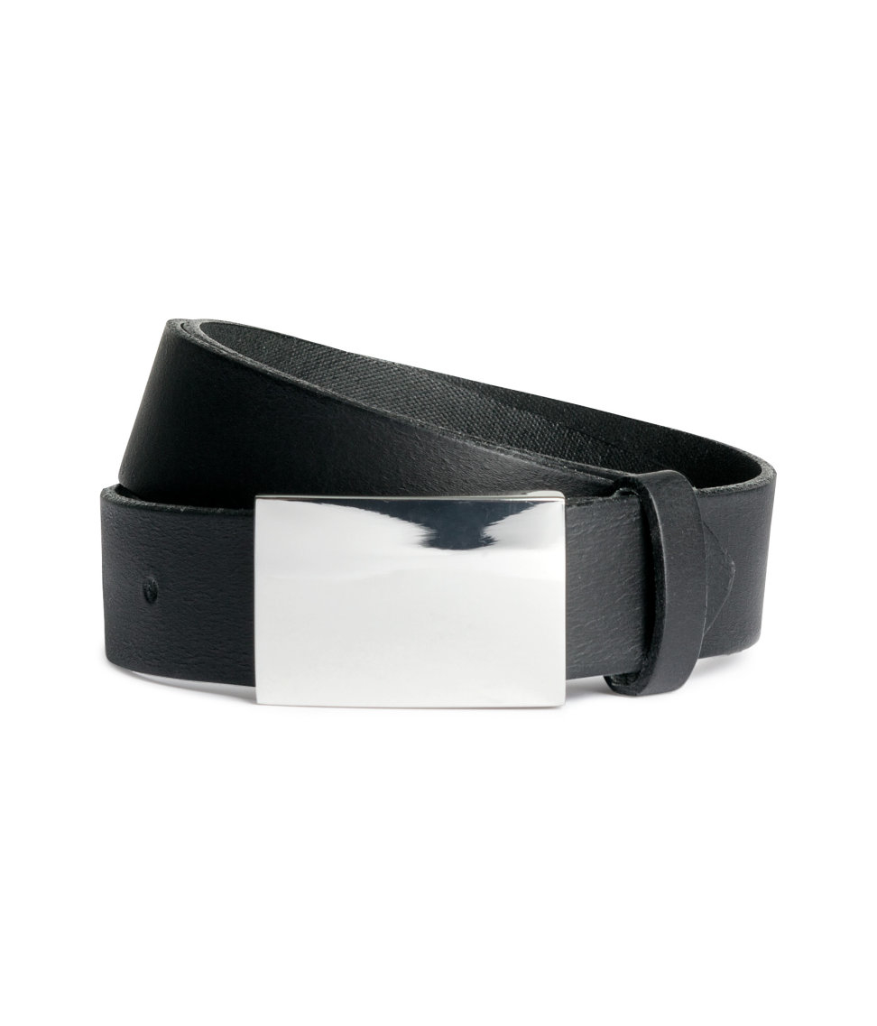 h m leather belt in metallic for lyst