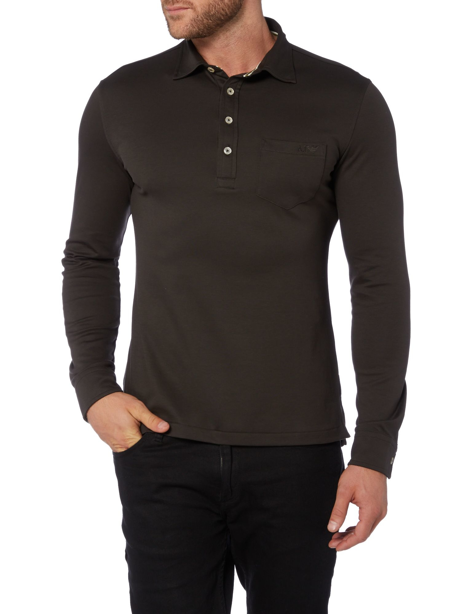 ec699c79db Armani jeans Slim Fit Long Sleeve Pocket Polo Shirt in Black for Men Lyst