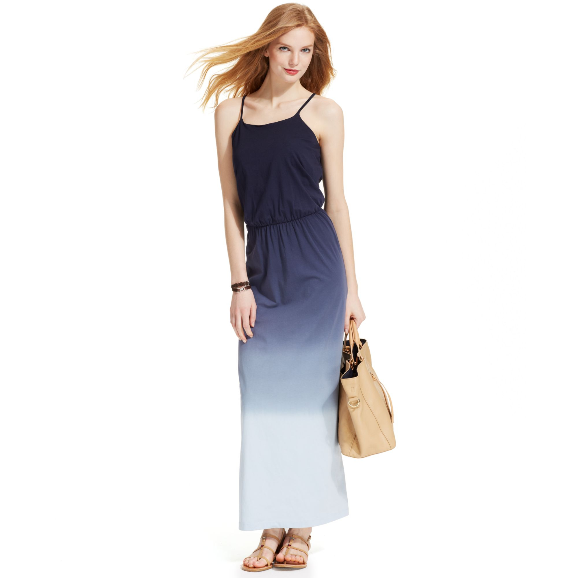 b3cf2a87672 Tommy Hilfiger Spaghettistrap Ombre Maxi Dress in Blue - Lyst