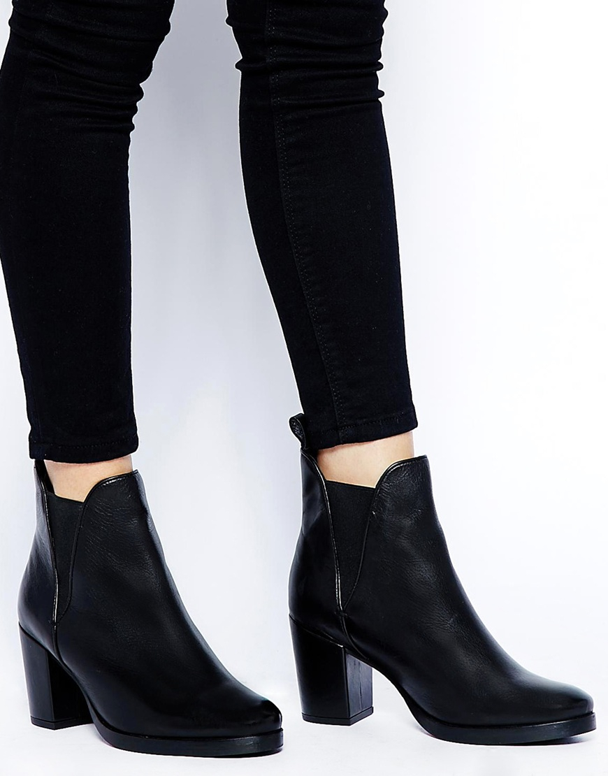Lyst Asos Road Rage Leather Ankle Boots In Black