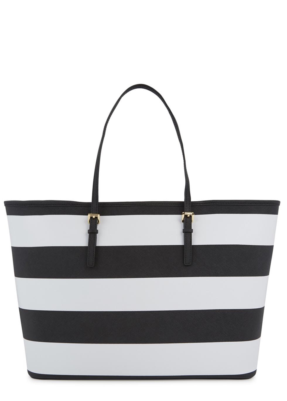 05e712c07 ... new zealand michael kors jet set striped saffiano leather tote in black  lyst 38343 7a5fe