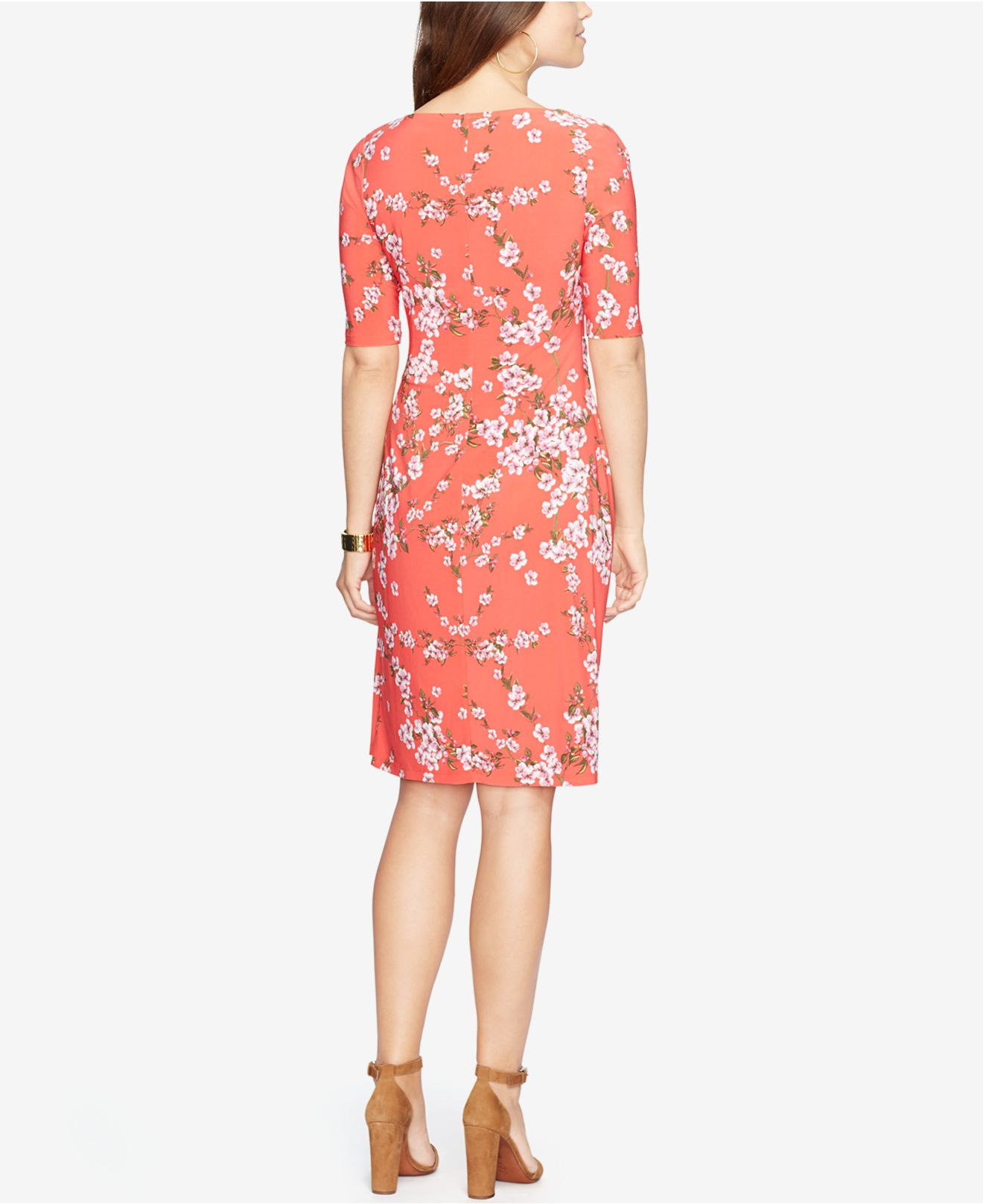 American Living Floral Print Jersey Dress In Red Lyst