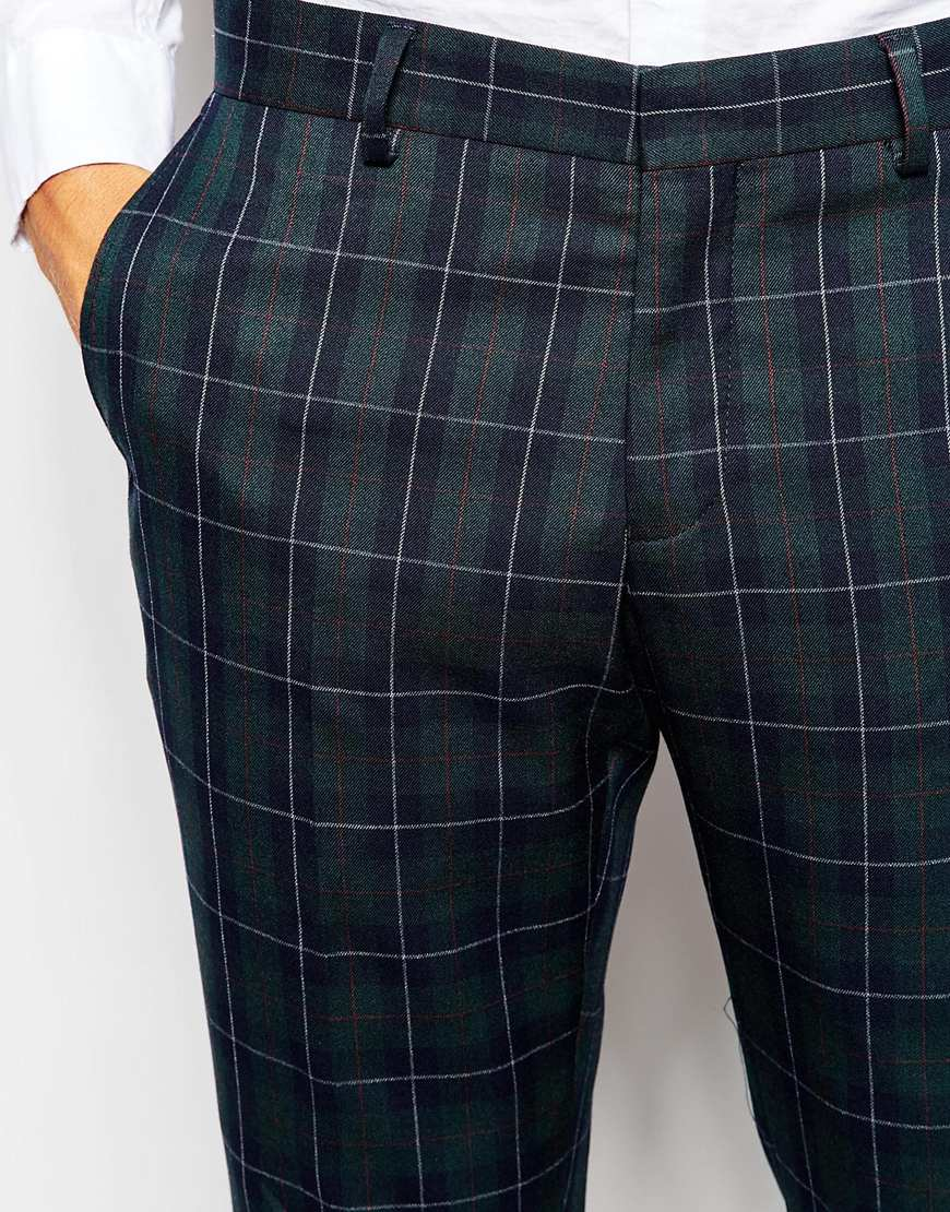 Selected Exclusive Tartan Suit Trouser In Skinny Fit in Green for ...