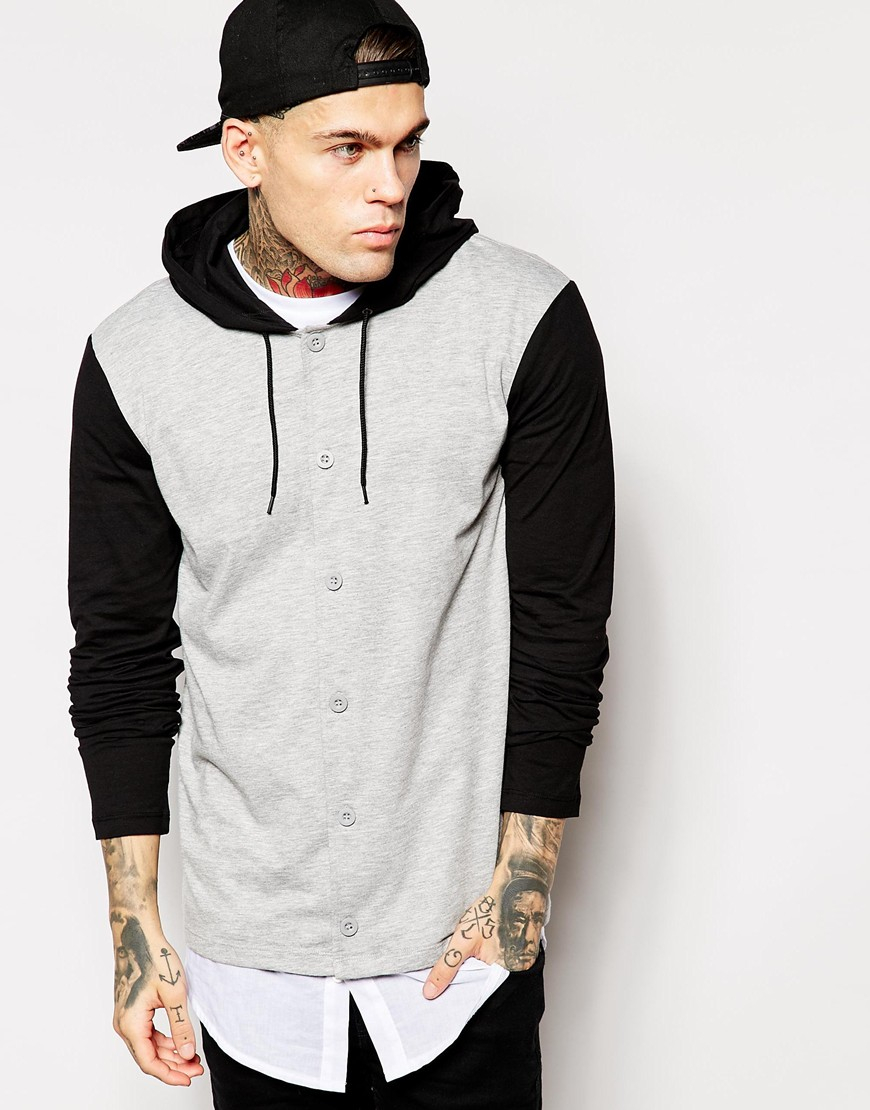 Asos skater long sleeve t shirt with button up and hood in for Boys long sleeve shirt with hood