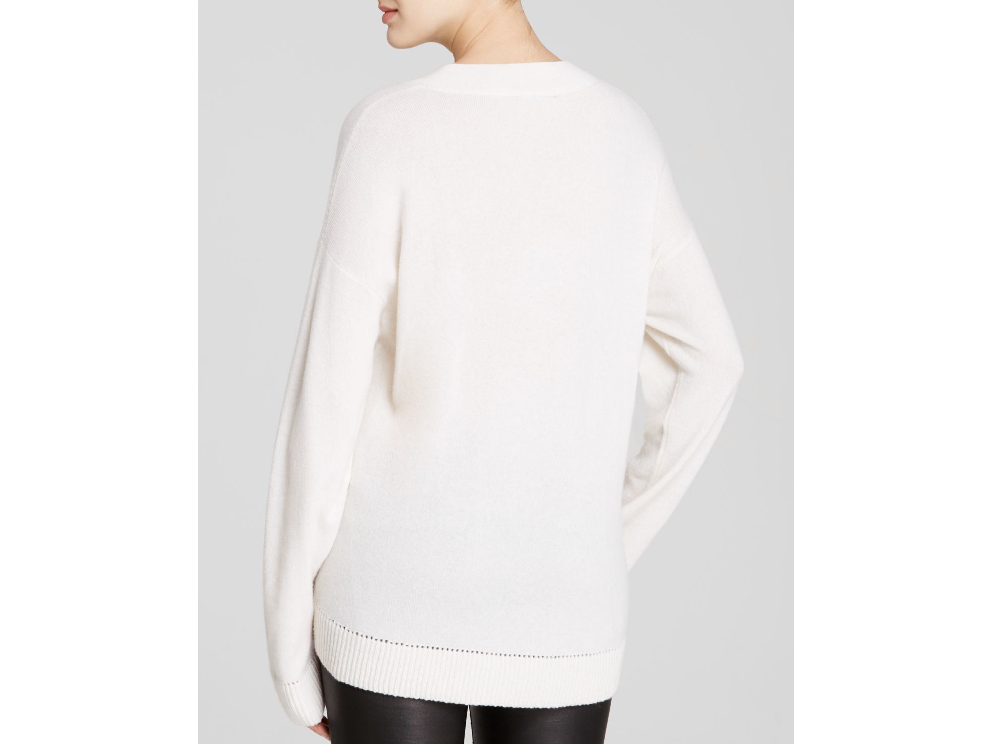 Vince Cashmere Pointelle Trim V Neck Sweater in Natural | Lyst