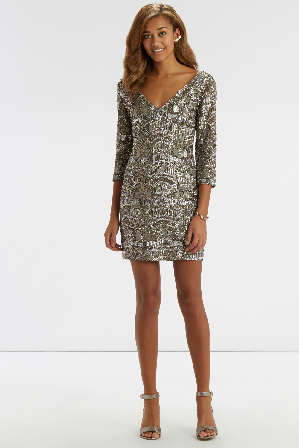 Oasis Sequin Embellished Dress in Metallic | Lyst