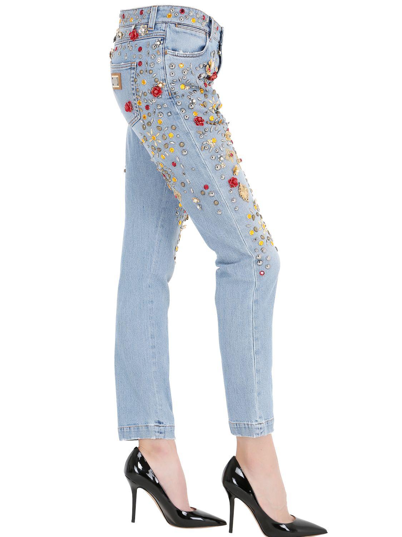Lyst Dolce Amp Gabbana Embellished Boyfriend Cotton Denim