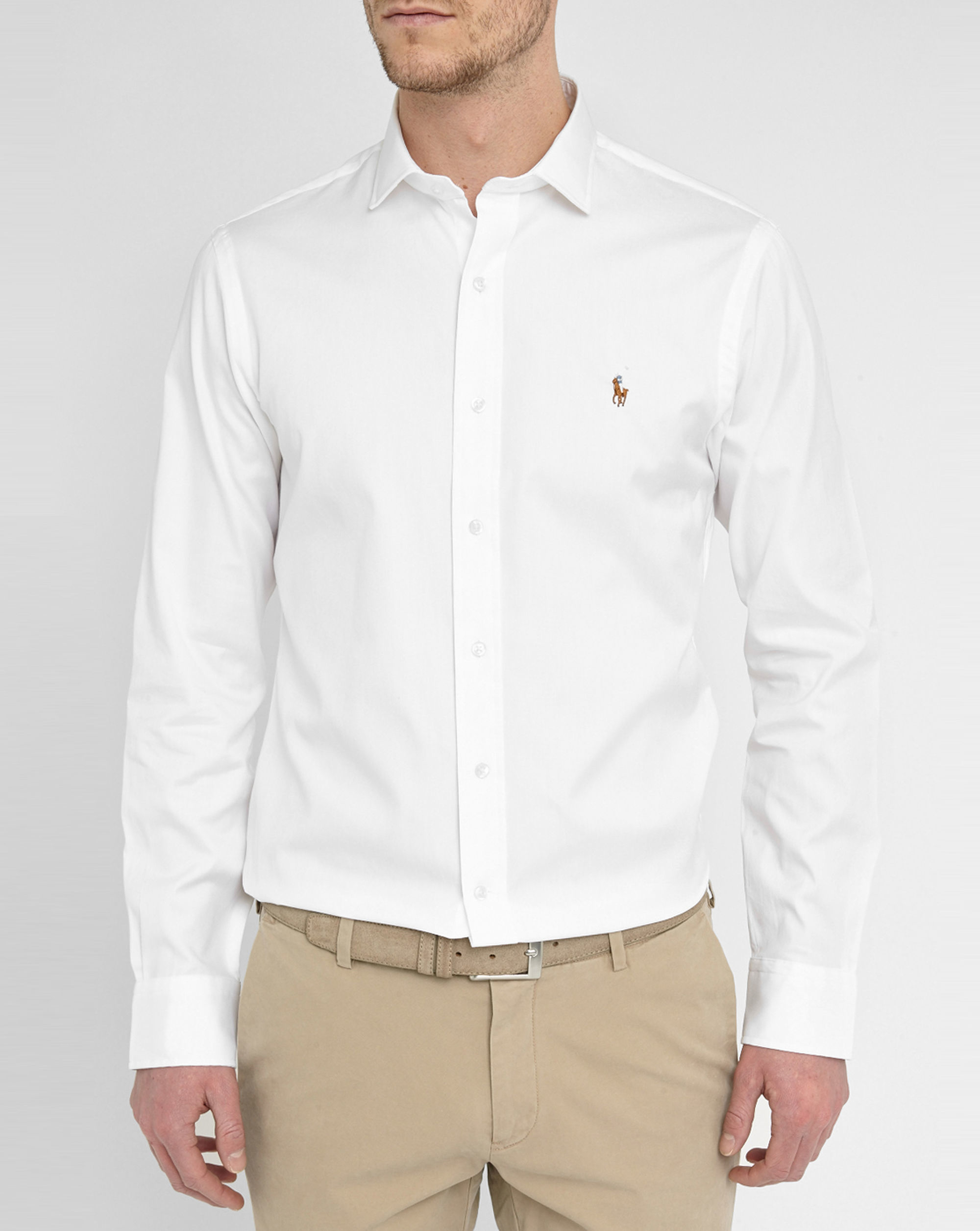 Polo Ralph Lauren White Pin Point Long Sleeve Shirt In